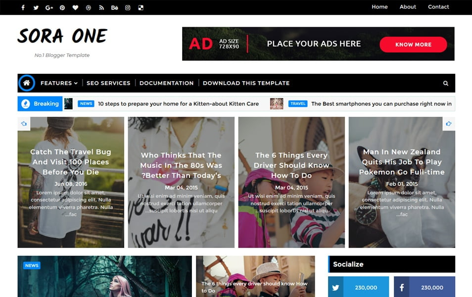 Sora-One-Responsive-Blogger-Template - 111+ Blogger Top Free Magazine Style Templates [year]