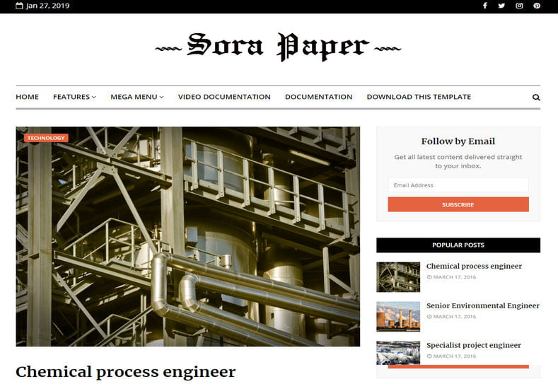 Sora-Paper-Blogger-Template - 53+ Top BEST Free Minimalist Blogger Templates [year]