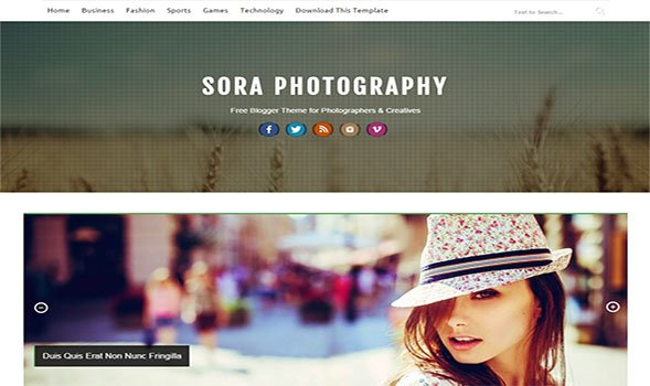 Sora-Photography-Blogger-Template - 50+ Top Free Portfolio Blogger Templates 2019