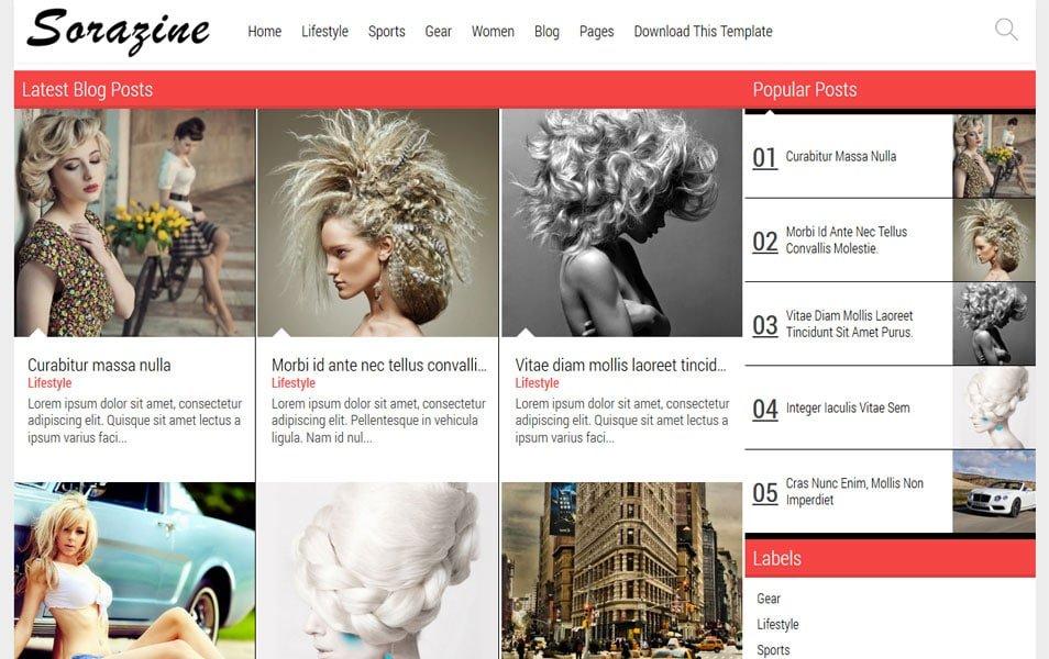 Sorazine-Responsive-Blogger-Template - 50+ Top Free Grid Style Blogger Templates 2019