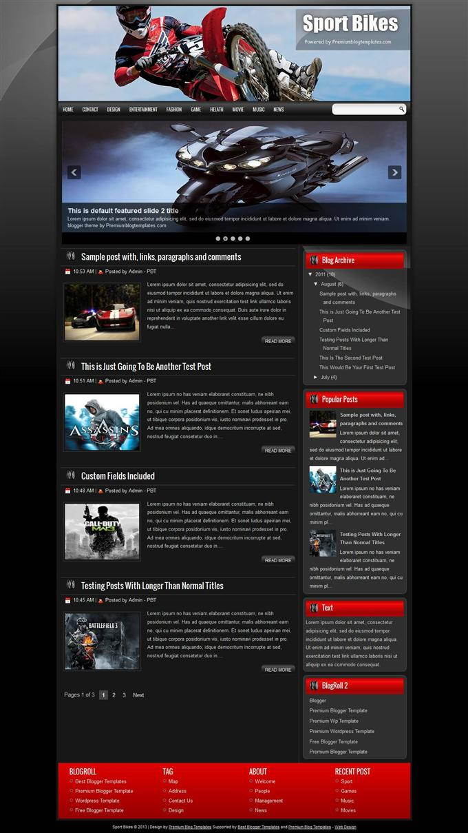 Sport-Bikes-Blogger-Template-Custom-1 - 50+ Top Free Gaming Responsive Blogger Templates