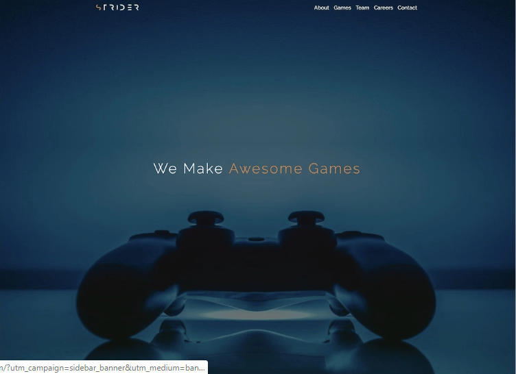 Strider - 50 Best Gaming HTML Website Templates 2019