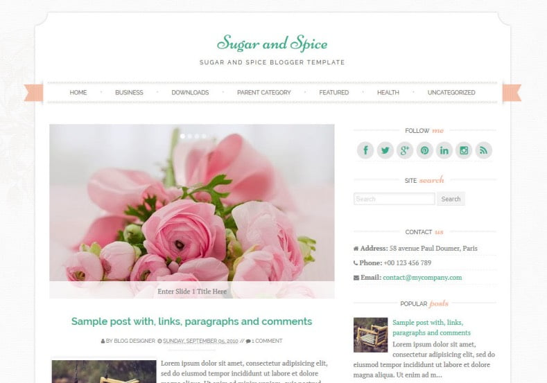 Sugar-and-Spice-Blogger-Template - 50+ Top Free Web 2.0 Blogger Templates [year]