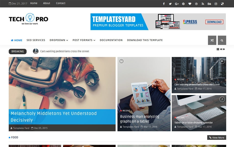 Tech-Pro-Responsive-Blogger-Template - 111+ Blogger Top Free Magazine Style Templates [year]