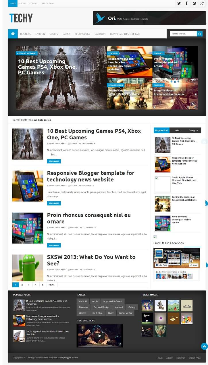 Techy-Gaming-Blogger-Template - 50+ Top Free Gaming Responsive Blogger Templates 2019
