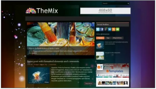 TheMix - 50+ Top Free 3D Blogger Templates 2019