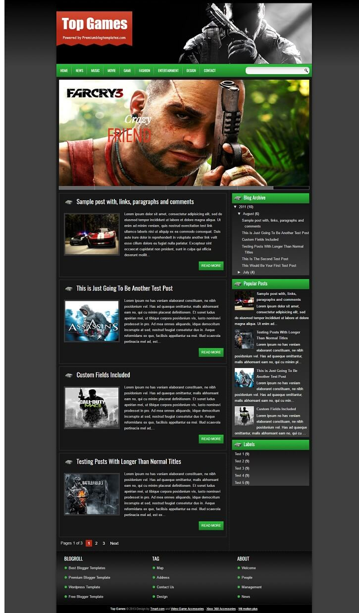 Top-Games-Responsive-Blogger-Template - 50+ Top Free Gaming Responsive Blogger Templates 2019
