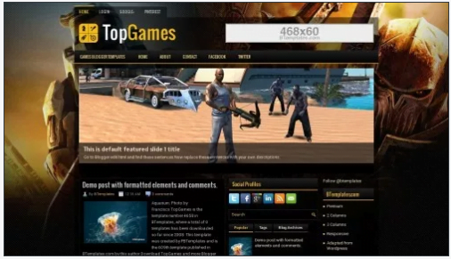 TopGames - 50+ Top Free 3D Blogger Templates 2019