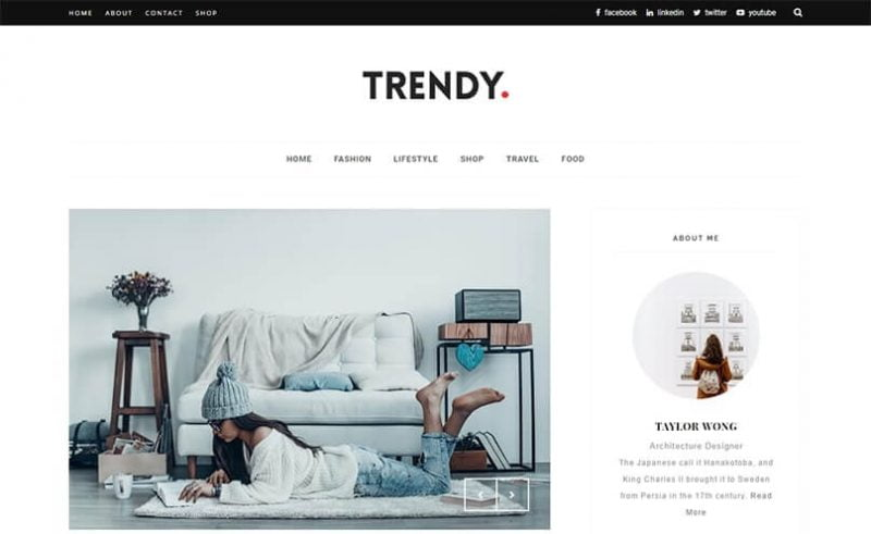 Trendy-800x491 - 53+ Top BEST Free Minimalist Blogger Templates [year]