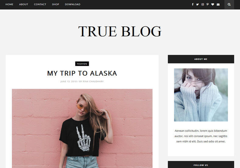 True-Blog - 53+ Top BEST Free Minimalist Blogger Templates [year]