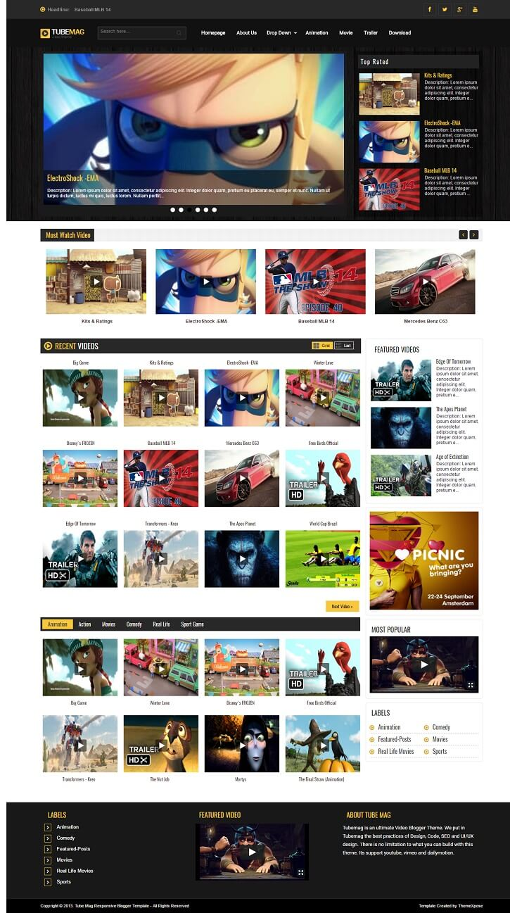 Tube-Mag-Blogger-Template - 50+ Top Free Gaming Responsive Blogger Templates 2019