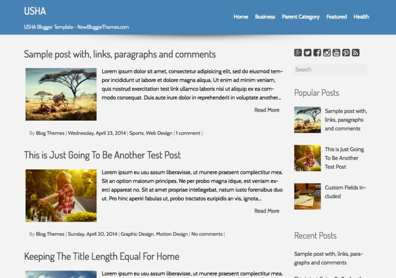 USHA-Blogger-Template-2 - 50+ Top Free Web 2.0 Blogger Templates [year]