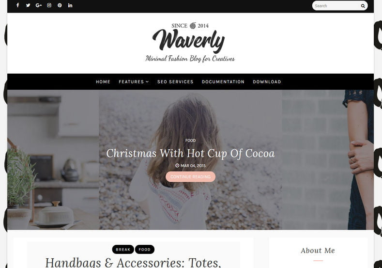 Waverly-Blogger-Template - 53+ Top BEST Free Minimalist Blogger Templates [year]