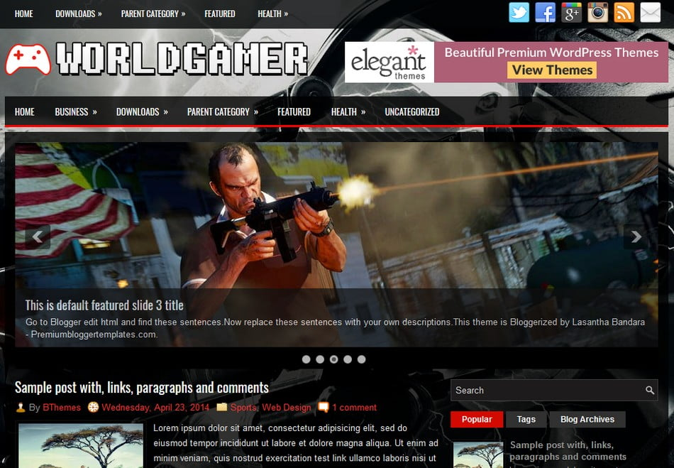 WorldGamer-Blogger-Template - 50+ Top Free 3D Blogger Templates 2019