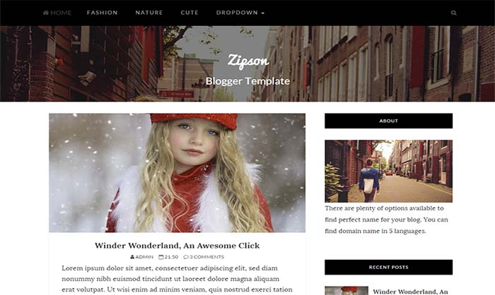 Zipson-Blogger-Template - 50+ Top Free Portfolio Blogger Templates 2019
