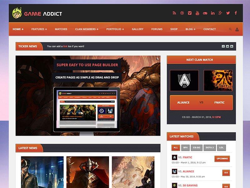 game-addict-theme - 50+ Best Video Games WordPress Themes 2019