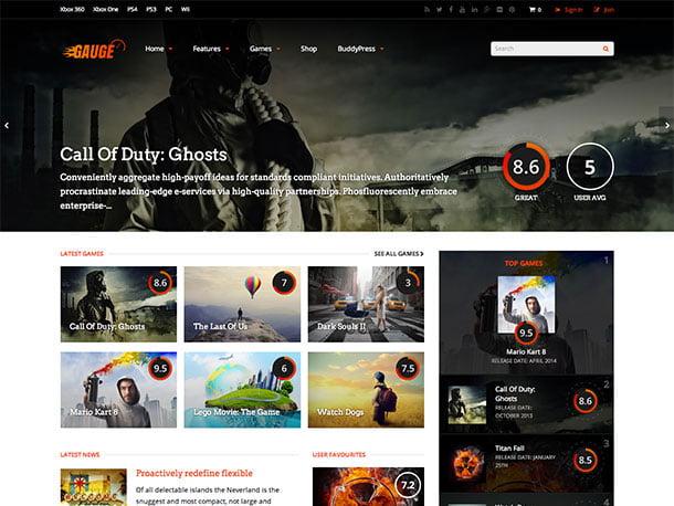 gauge-theme-1 - 50+ Best Video Games WordPress Themes 2019