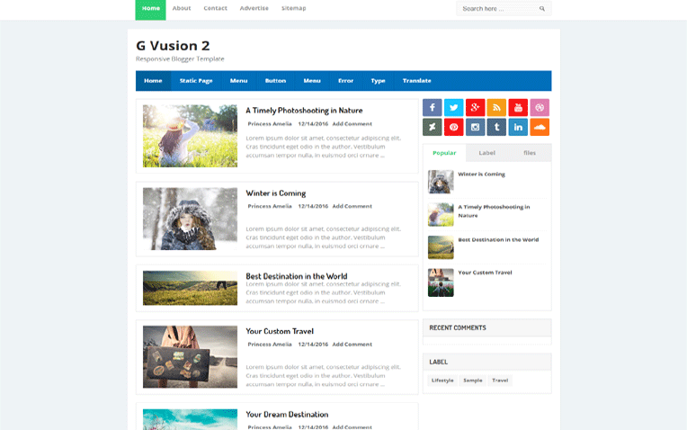 gvusion2-blogger-template - 54+ Top BEST Free One Page Blogger Templates [year]