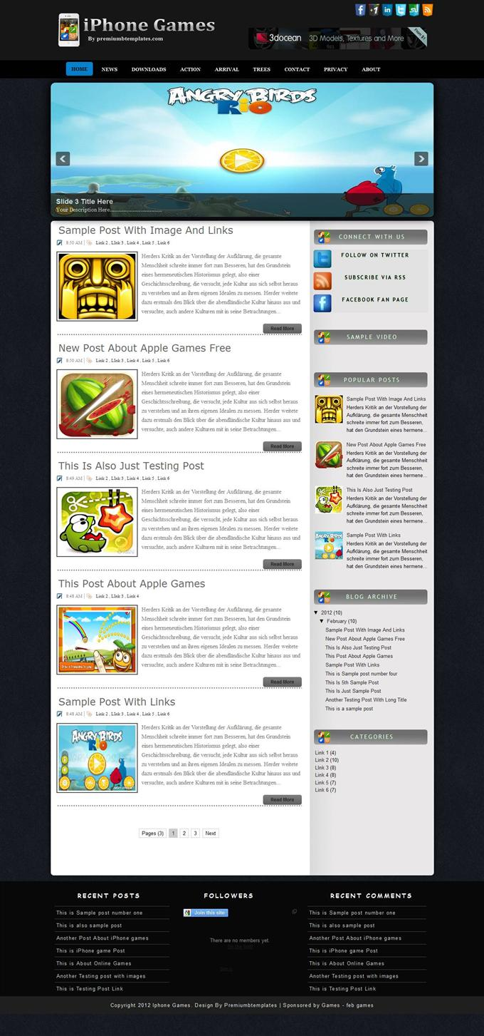 iPhone-Games-Blogger-Template-Custom - 50+ Top Free Gaming Responsive Blogger Templates 2019