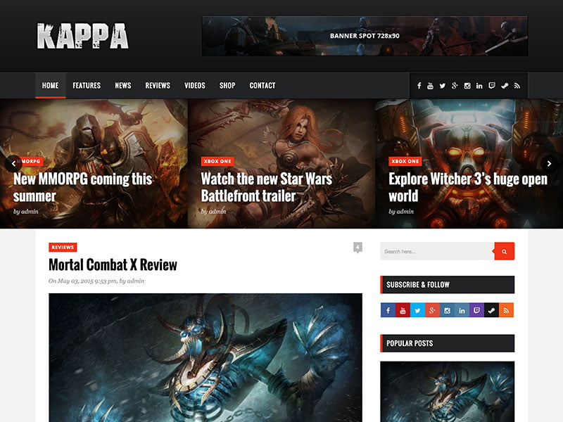 kappa-gaming-wordpress-theme - 50+ Best Video Games WordPress Themes 2019