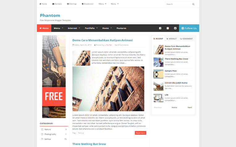 phantom-blogger-template - 54+ Top BEST Free One Page Blogger Templates [year]