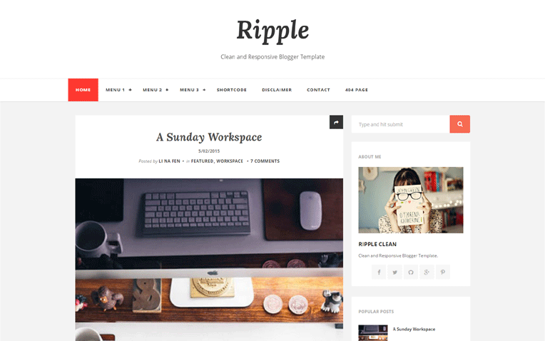 ripple-blogger-template - 54+ Top BEST Free One Page Blogger Templates [year]