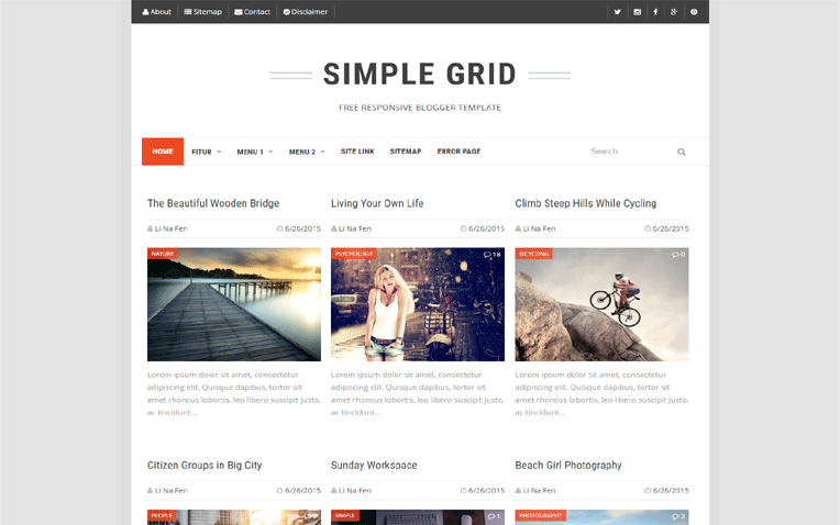 simplegrid-blogger-template - 54+ Top BEST Free One Page Blogger Templates [year]