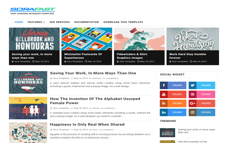 sorafast-blogger-template - 54+ Top BEST Free One Page Blogger Templates [year]