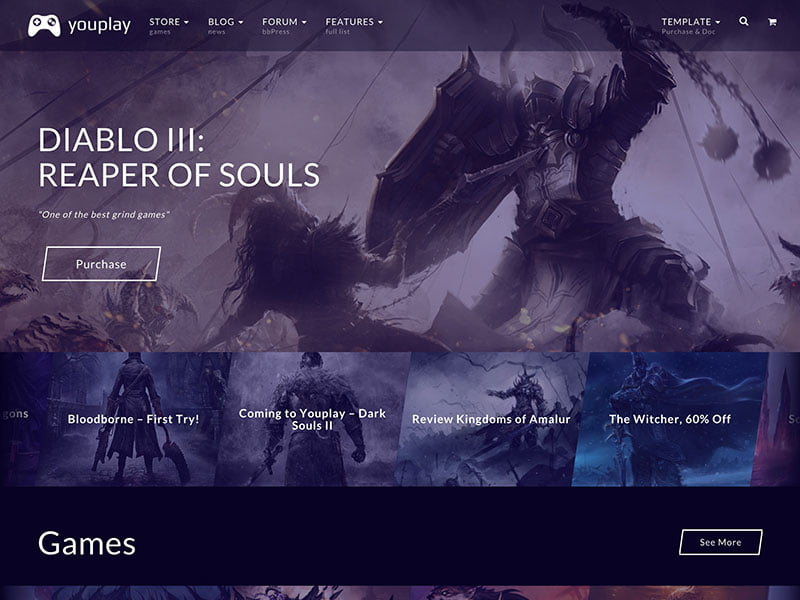youplay-gaming-theme - 50+ Best Video Games WordPress Themes 2019