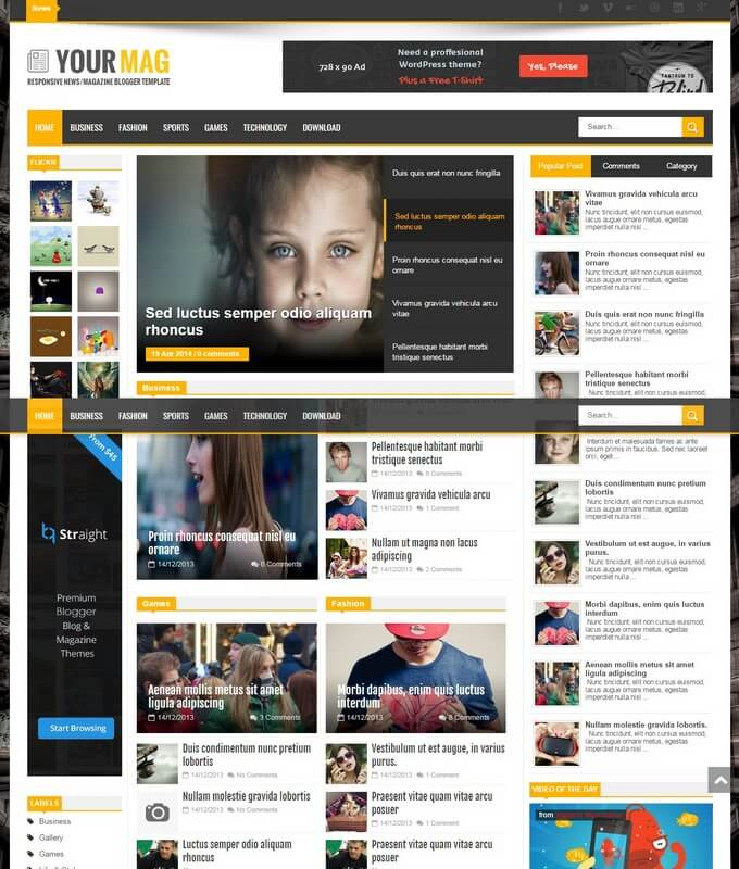 yourmag-blogger-template-1 - 50+ Top Free 3D Blogger Templates 2019