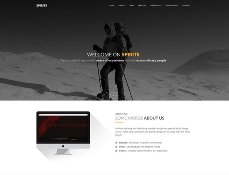 10-spirit8-service-agency-responsive-bootstrap-template - 57+ Best Free Digital Agency HTML Website Templates