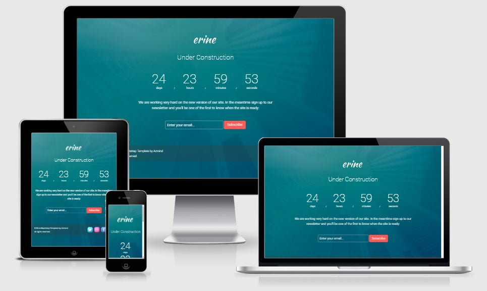 13-Ernie - 58+ Free Under Construction HTML Responsive Templates [year]