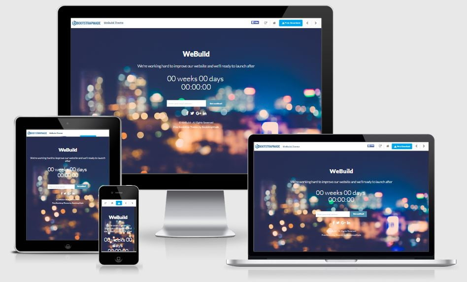 15-WeBuild - 58+ Free Under Construction HTML Responsive Templates [year]