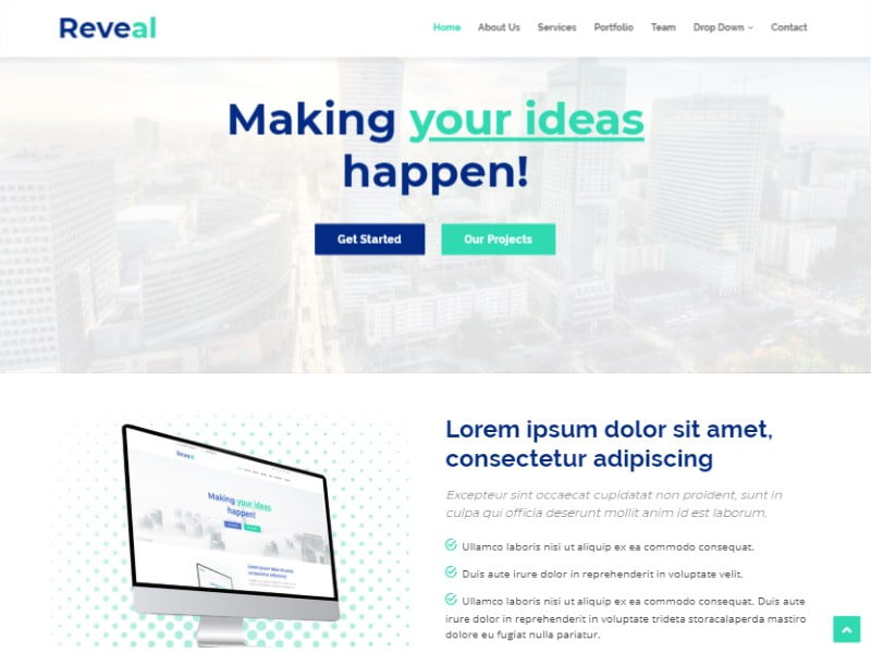 3-reveal-bootstrap- - 57+ Best Free Digital Agency HTML Website Templates [year]