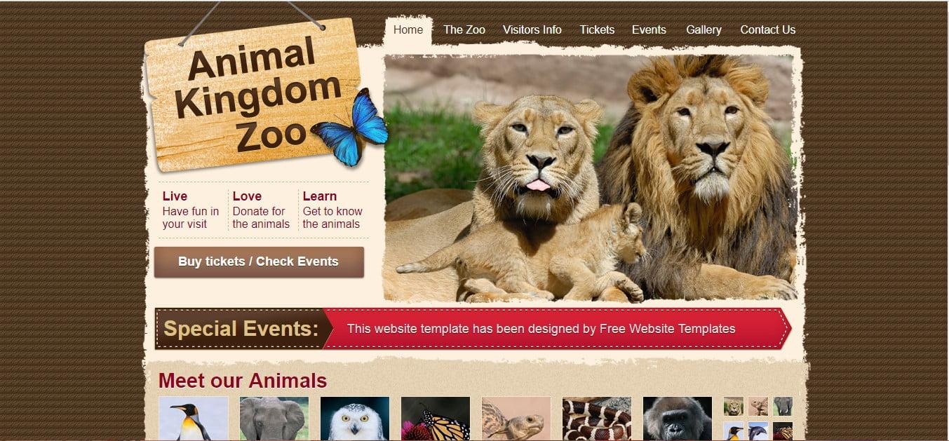 ANIMAL-KINGDOM-ZOO - 56+ Best Free Animals & Pets HTML Website Templates