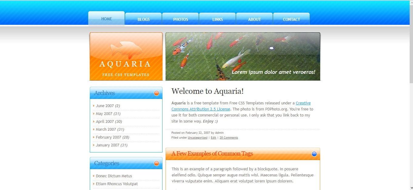AQUARIA - 56+ Best Free Animals & Pets HTML Website Templates