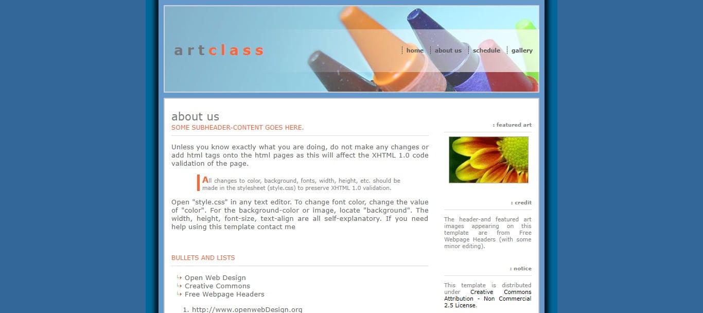 ART-CLASS - 57+ Best Free Education HTML Website Templates