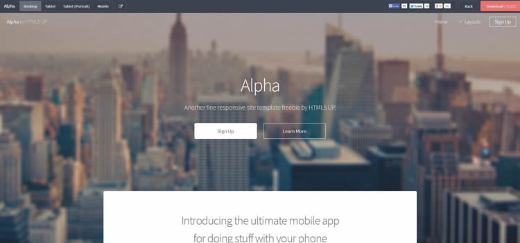 Alpha-1 - Top 111+ Free Responsive HTML5 Website Templates [year]