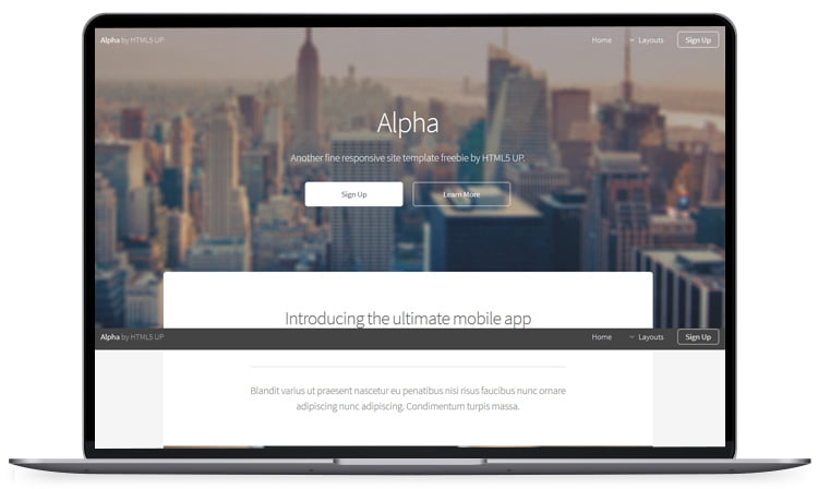 Alpha - 62+ Best Free HTML5 Website Templates 2019
