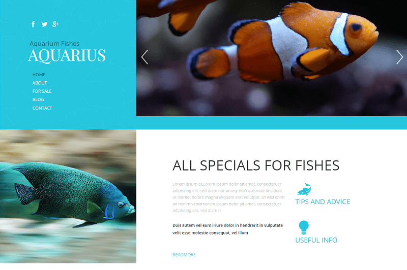 Aquarius-1 - 56+ Best Free Animals & Pets HTML Website Templates