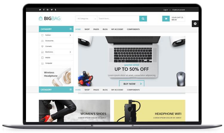 BigBag-Store-Elegant-Ecommerce-Theme - 62+ Best Free HTML5 Website Templates 2019