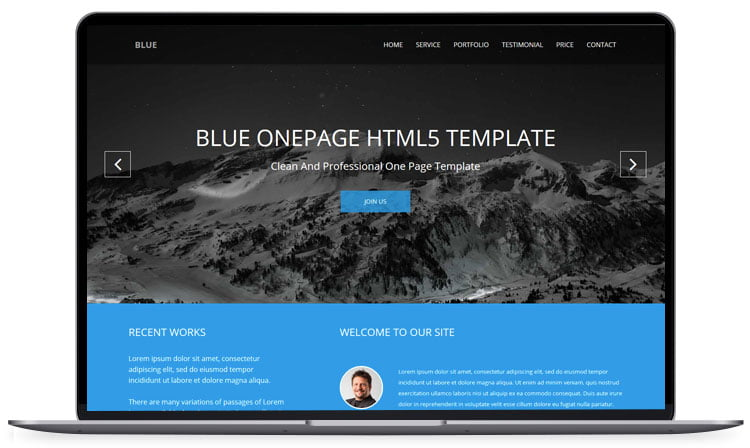 Blue-One-page-Responsive-Corporate-Template - 62+ Best Free HTML5 Website Templates [year]