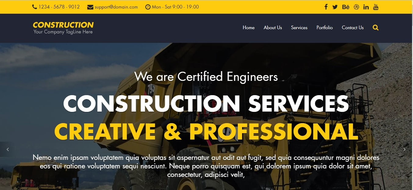 CONSTRUCTION - 56+ Best Free Architecture HTML Website Templates [year]