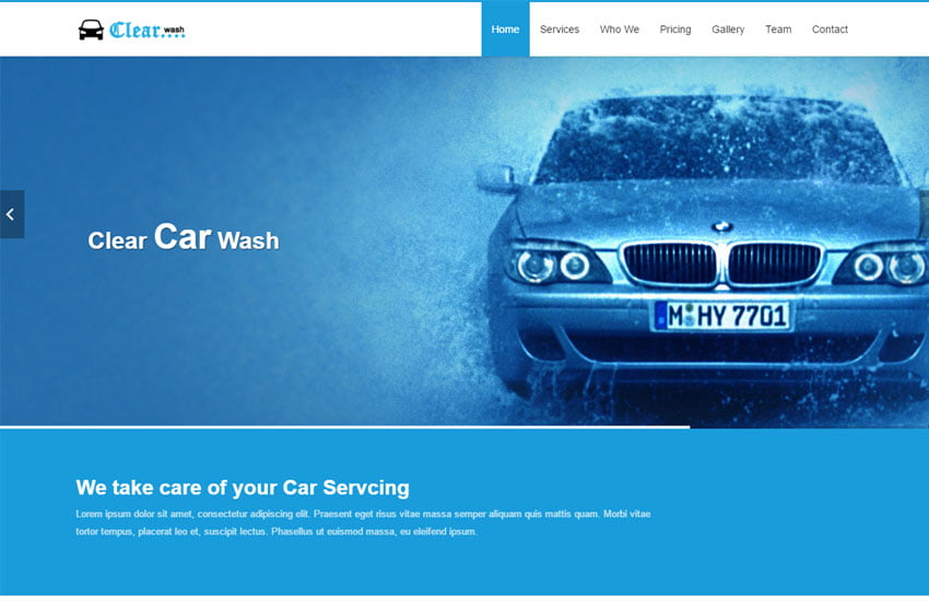 Clear-Car-Wash-HTML5-Website-Template - 75+ Free Responsive Automobile HTML Template 2019
