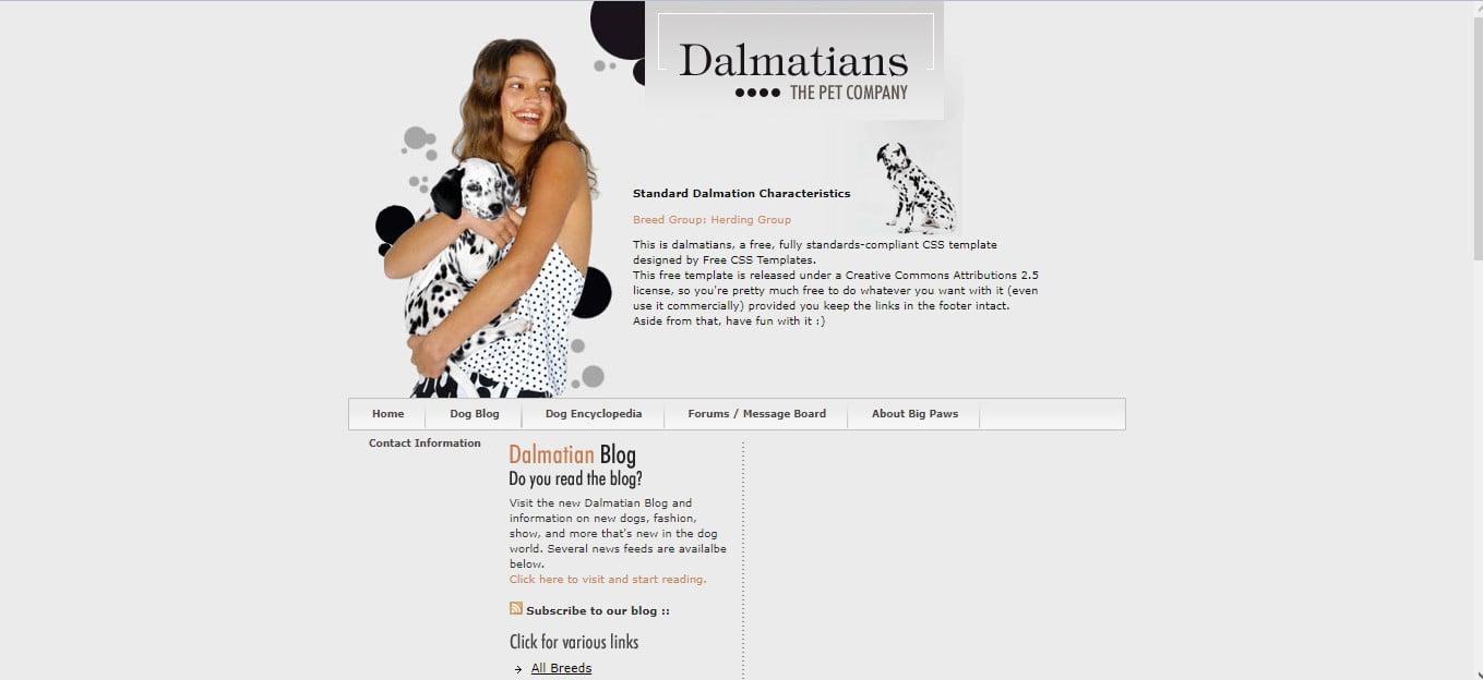 DALMATIANS - 56+ Best Free Animals & Pets HTML Website Templates