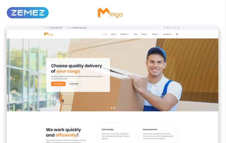 Delivery-Services - Free Mingo Delivery Services Clean HTML Template