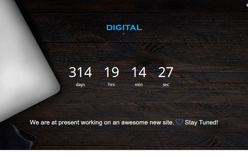 Digital-Coming-Soon-Bootstrap-Template - 58+ Free Under Construction HTML Responsive Templates [year]