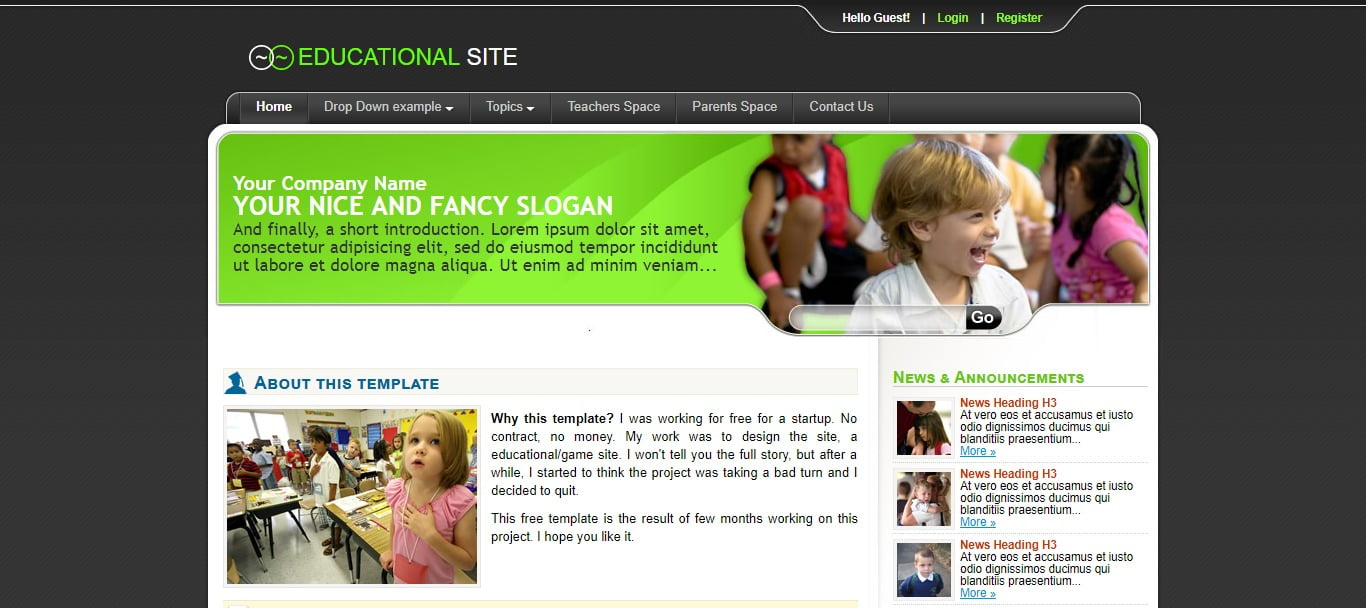 EDUCATIONAL-SITE - 57+ Best Free Education HTML Website Templates