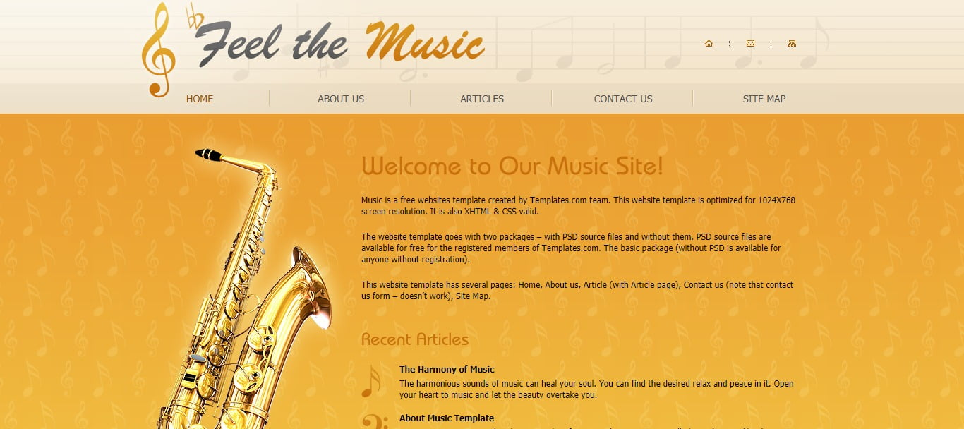 FEEL-THE-MUSIC - 57+ Best Free Education HTML Website Templates