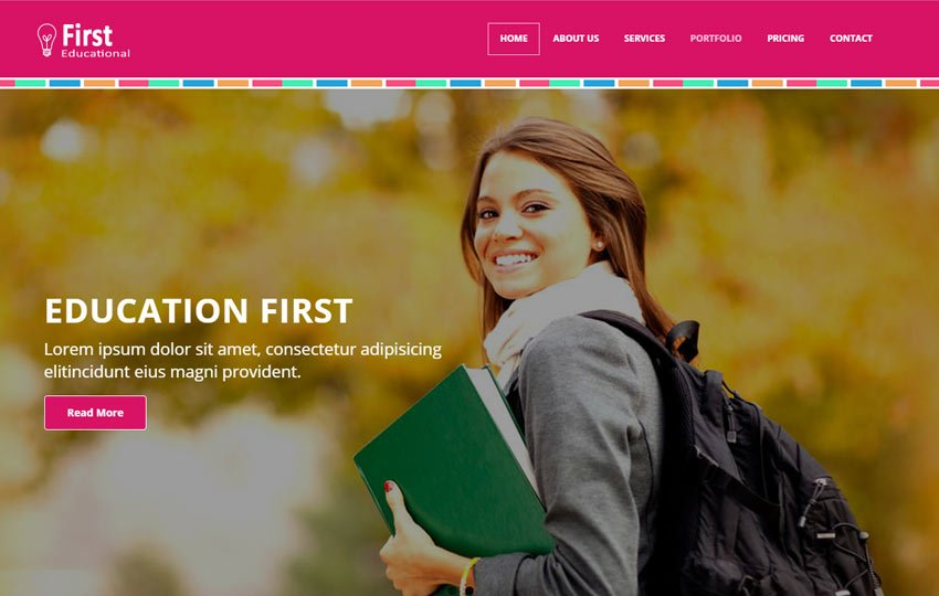 First-Educational-Free-HTML5-Bootstrap-Web-Template - 57+ Best Free Education HTML Website Templates